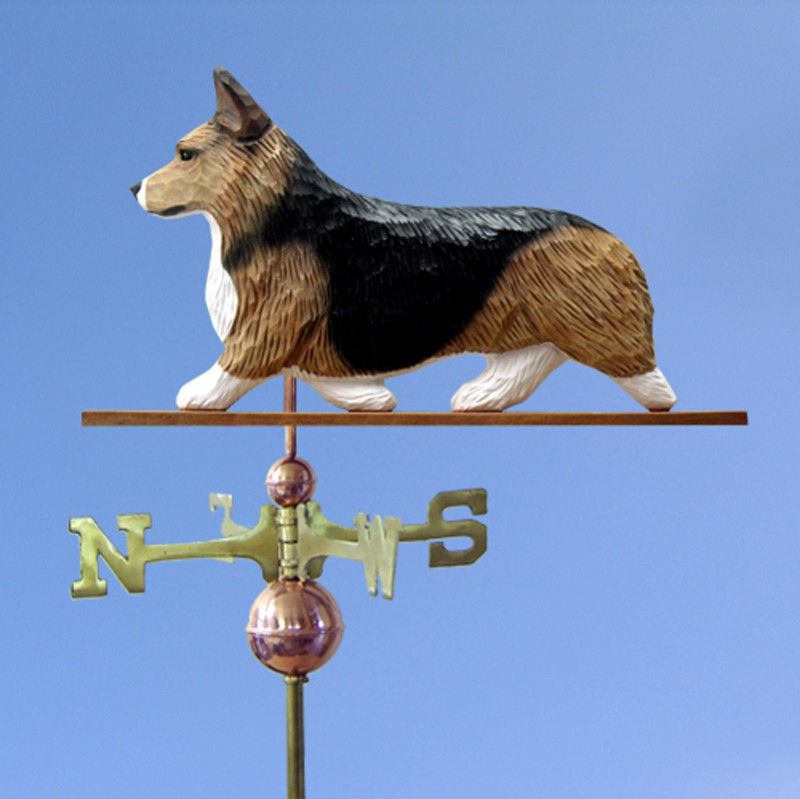 Welsh Corgi Pembroke Hand Carved Hand Painted Basswood Dog Weathervane Sable