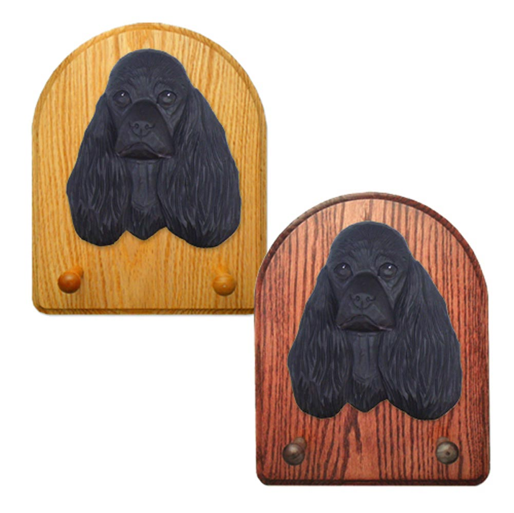 American Cocker Spaniel Dog Wooden Oak Key Leash Rack Hanger Black