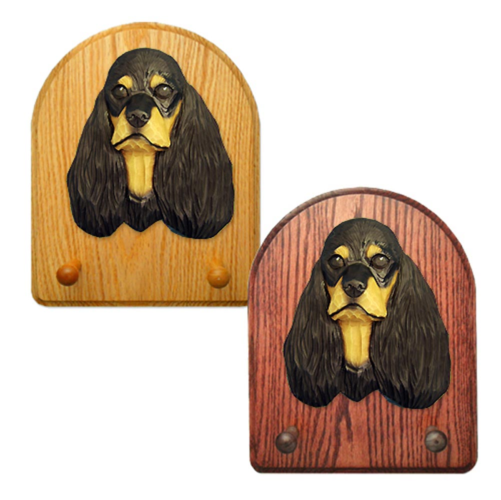 American Cocker Spaniel Dog Wooden Oak Key Leash Rack Hanger Black/Tan