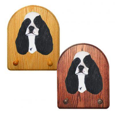 American Cocker Spaniel Dog Wooden Oak Key Leash Rack Hanger Black Parti 1