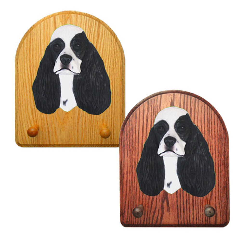 American Cocker Spaniel Dog Wooden Oak Key Leash Rack Hanger Black Parti