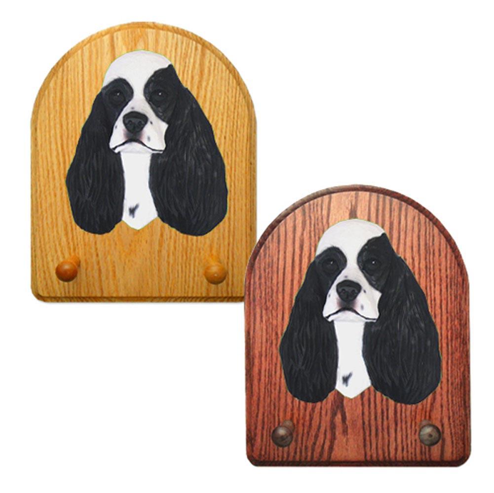 American Cocker Spaniel Dog Wooden Oak Key Leash Rack Hanger Black Parti