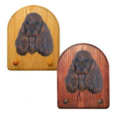 American Cocker Spaniel Dog Wooden Oak Key Leash Rack Hanger Brown 1
