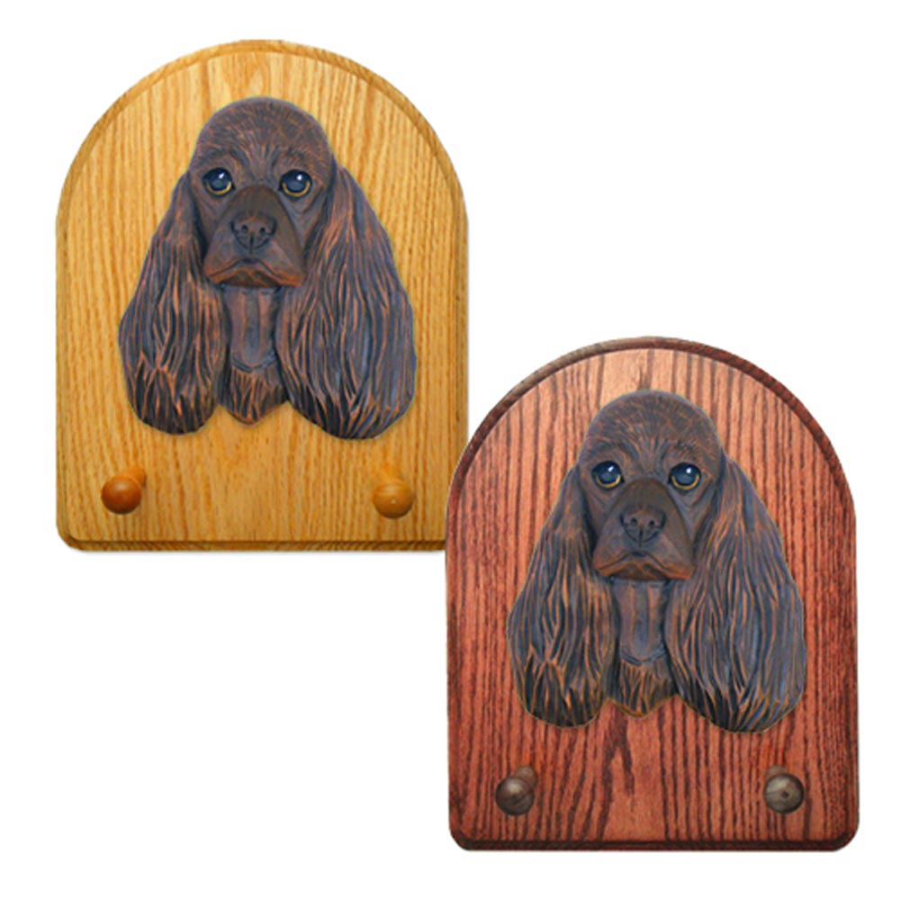 American Cocker Spaniel Dog Wooden Oak Key Leash Rack Hanger Brown