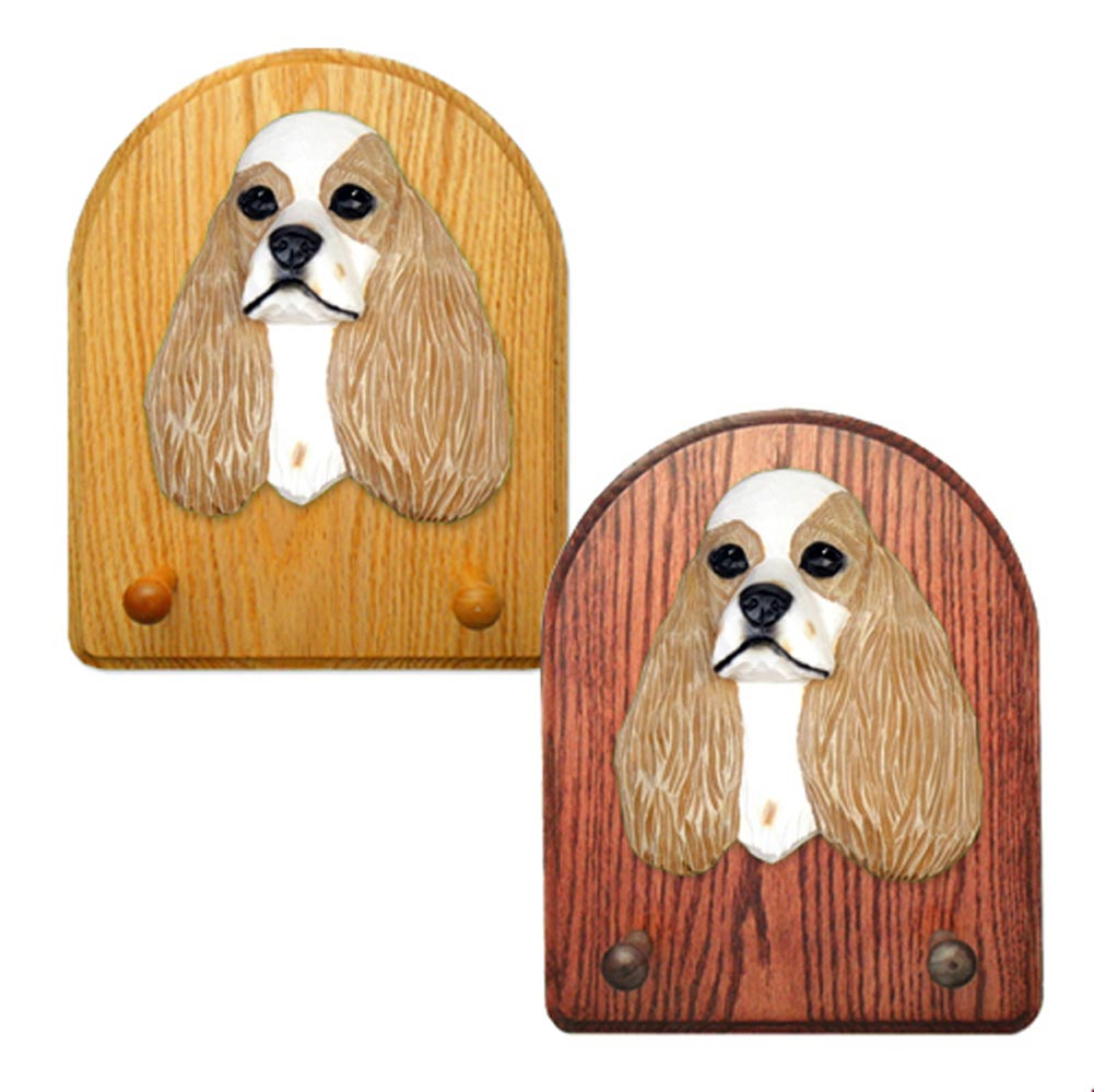 American Cocker Spaniel Dog Wooden Oak Key Leash Rack Hanger Brown Parti