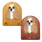 American Cocker Spaniel Dog Wooden Oak Key Leash Rack Hanger Brown Parti