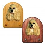 American Cocker Spaniel Dog Wooden Oak Key Leash Rack Hanger Buff 1