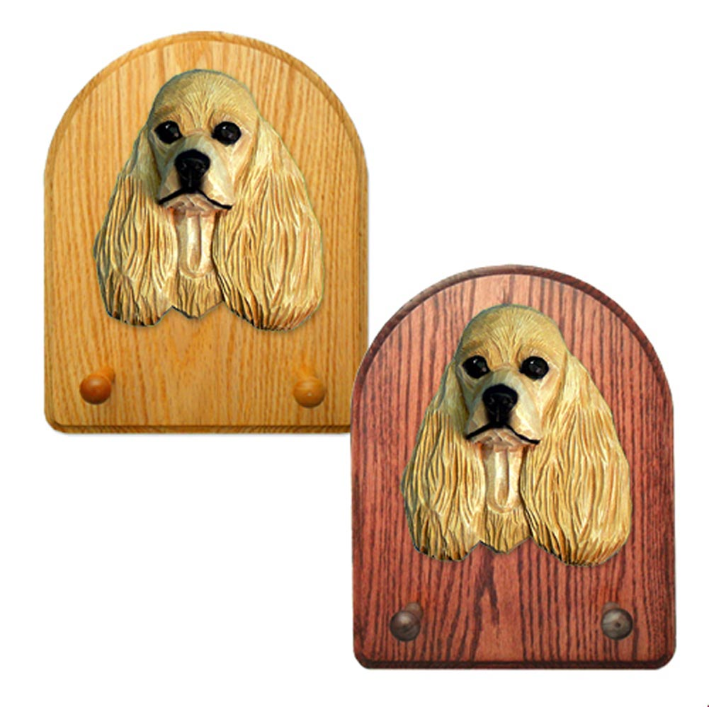 American Cocker Spaniel Dog Wooden Oak Key Leash Rack Hanger Buff