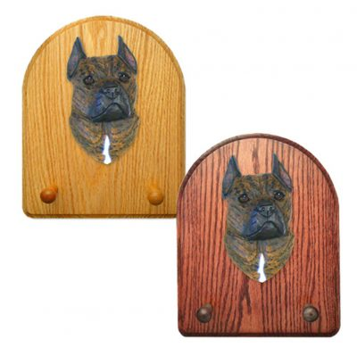 American Staffordshire Terrier Dog Wooden Oak Key Leash Rack Hanger Brindle 1