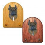American Staffordshire Terrier Dog Wooden Oak Key Leash Rack Hanger Brindle