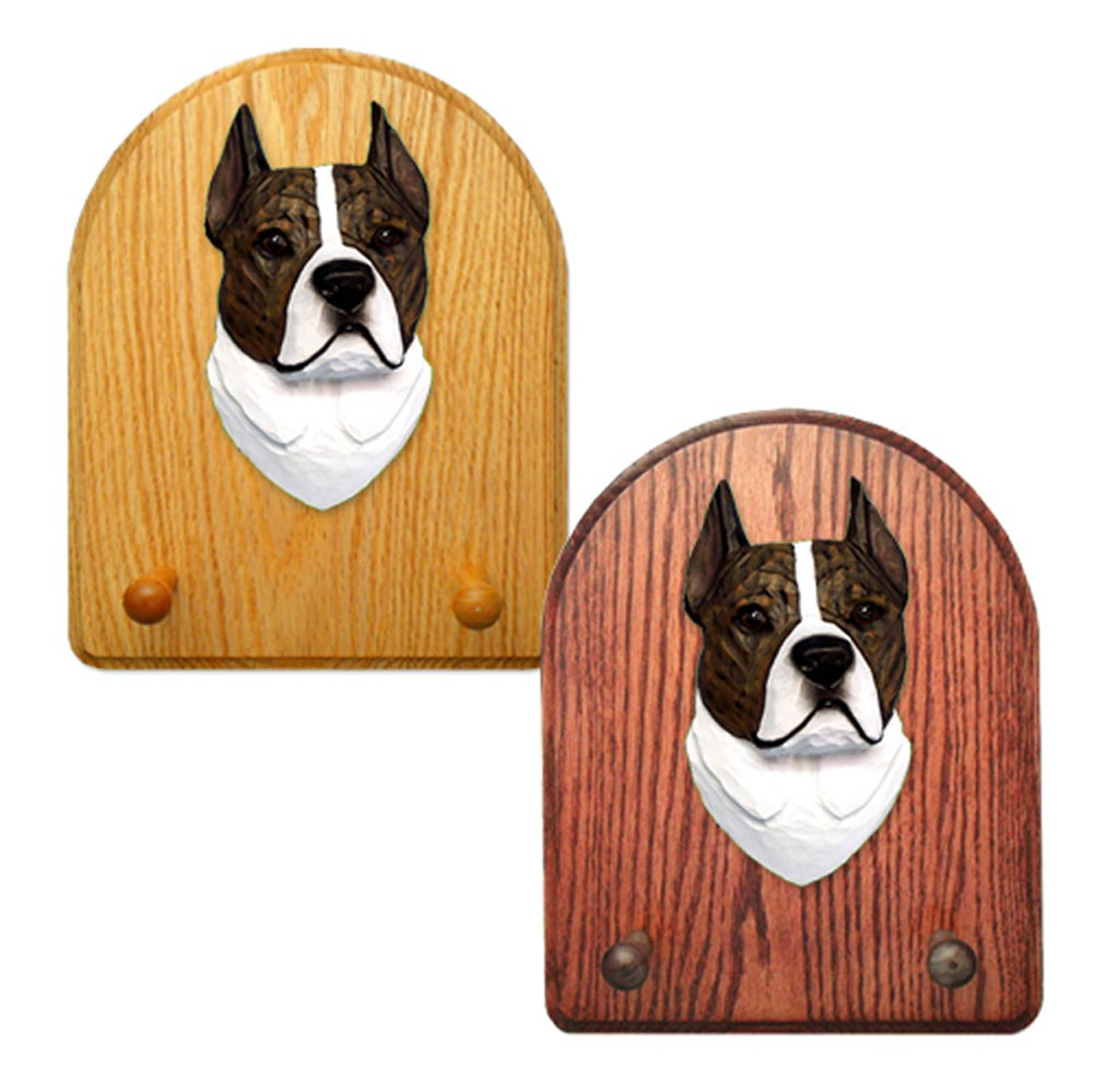 American Staffordshire Terrier Dog Wooden Oak Key Leash Rack Hanger Brindle/White