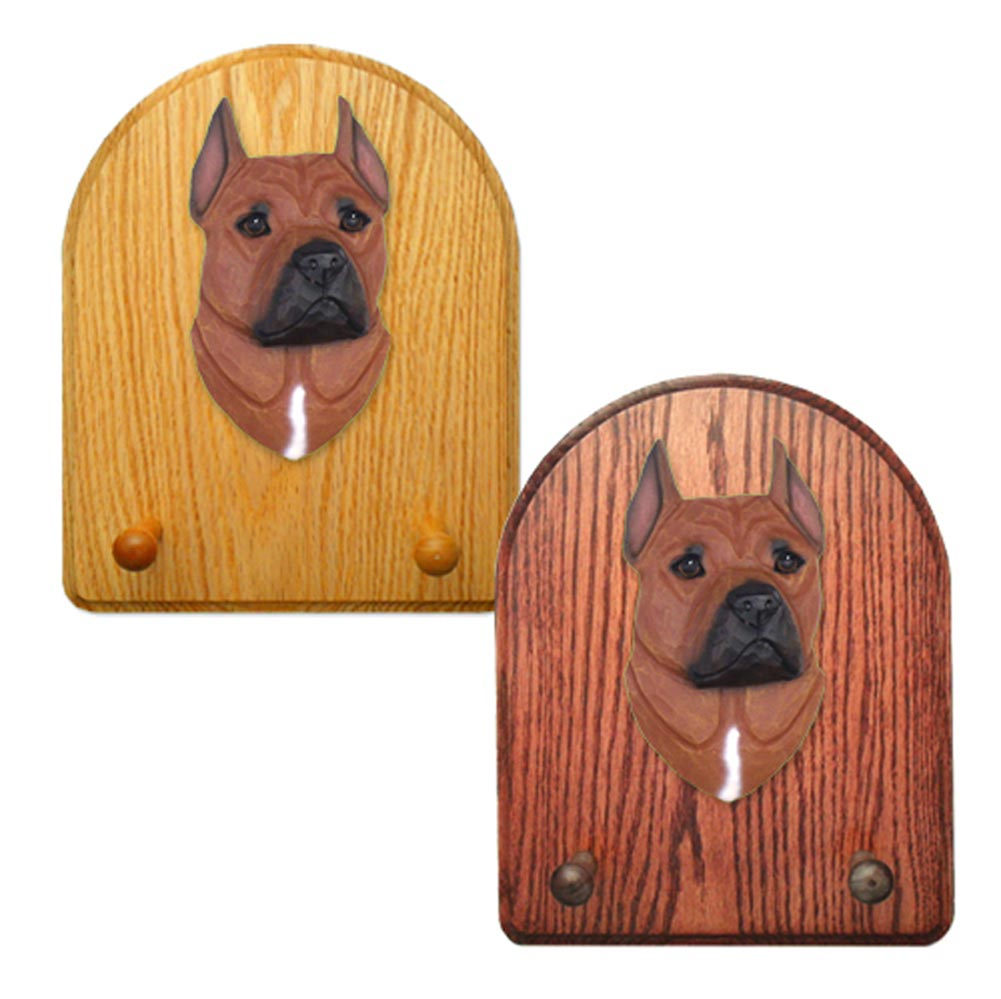 American Staffordshire Terrier Dog Wooden Oak Key Leash Rack Hanger Red