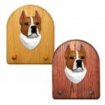 American Staffordshire Terrier Dog Wooden Oak Key Leash Rack Hanger Red/White