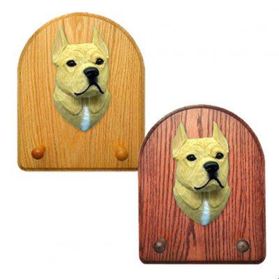 American Staffordshire Terrier Dog Wooden Oak Key Leash Rack Hanger Tan 1