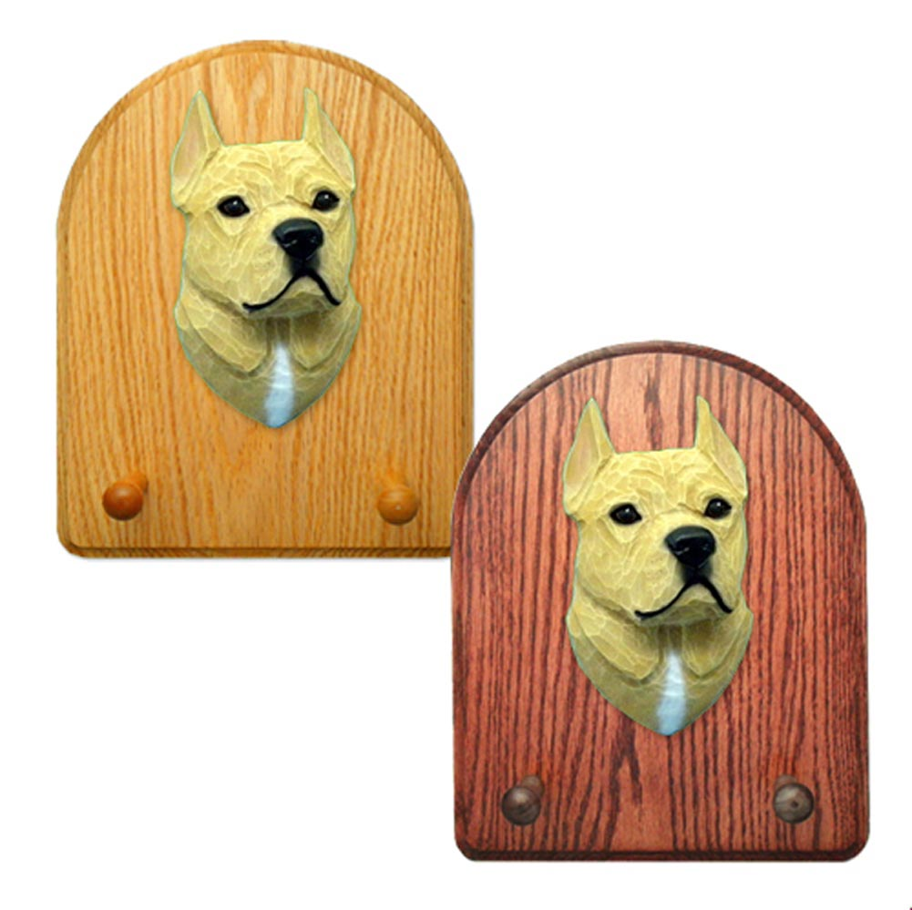 American Staffordshire Terrier Dog Wooden Oak Key Leash Rack Hanger Tan