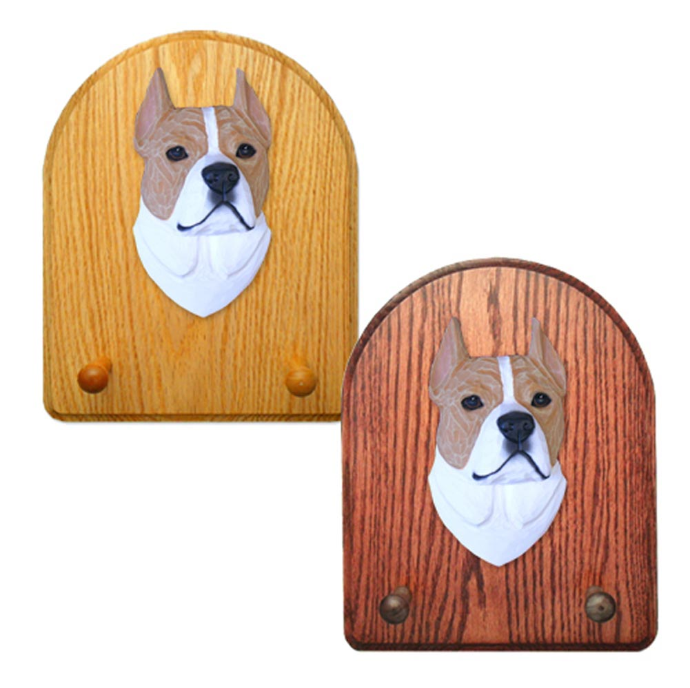 American Staffordshire Terrier Dog Wooden Oak Key Leash Rack Hanger Tan/White
