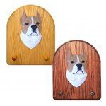 American Staffordshire Terrier Dog Wooden Oak Key Leash Rack Hanger Tan/White