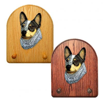 Australian Cattle Dog Dog Wooden Oak Key Leash Rack Hanger Blue 1