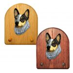 Australian Cattle Dog Dog Wooden Oak Key Leash Rack Hanger Blue