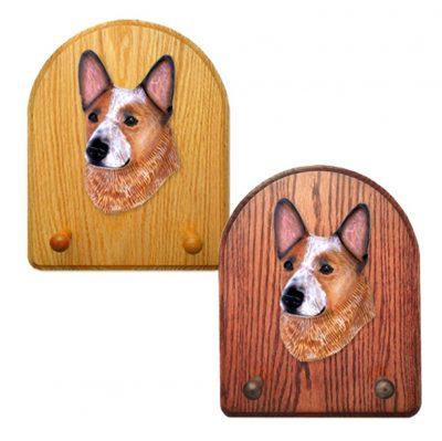 Australian Cattle Dog Dog Wooden Oak Key Leash Rack Hanger Red 1