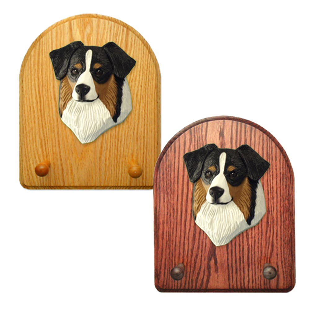 Australian Shepherd Dog Wooden Oak Key Leash Rack Hanger Black Tri
