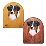 Australian Shepherd Dog Wooden Oak Key Leash Rack Hanger Blue Merle