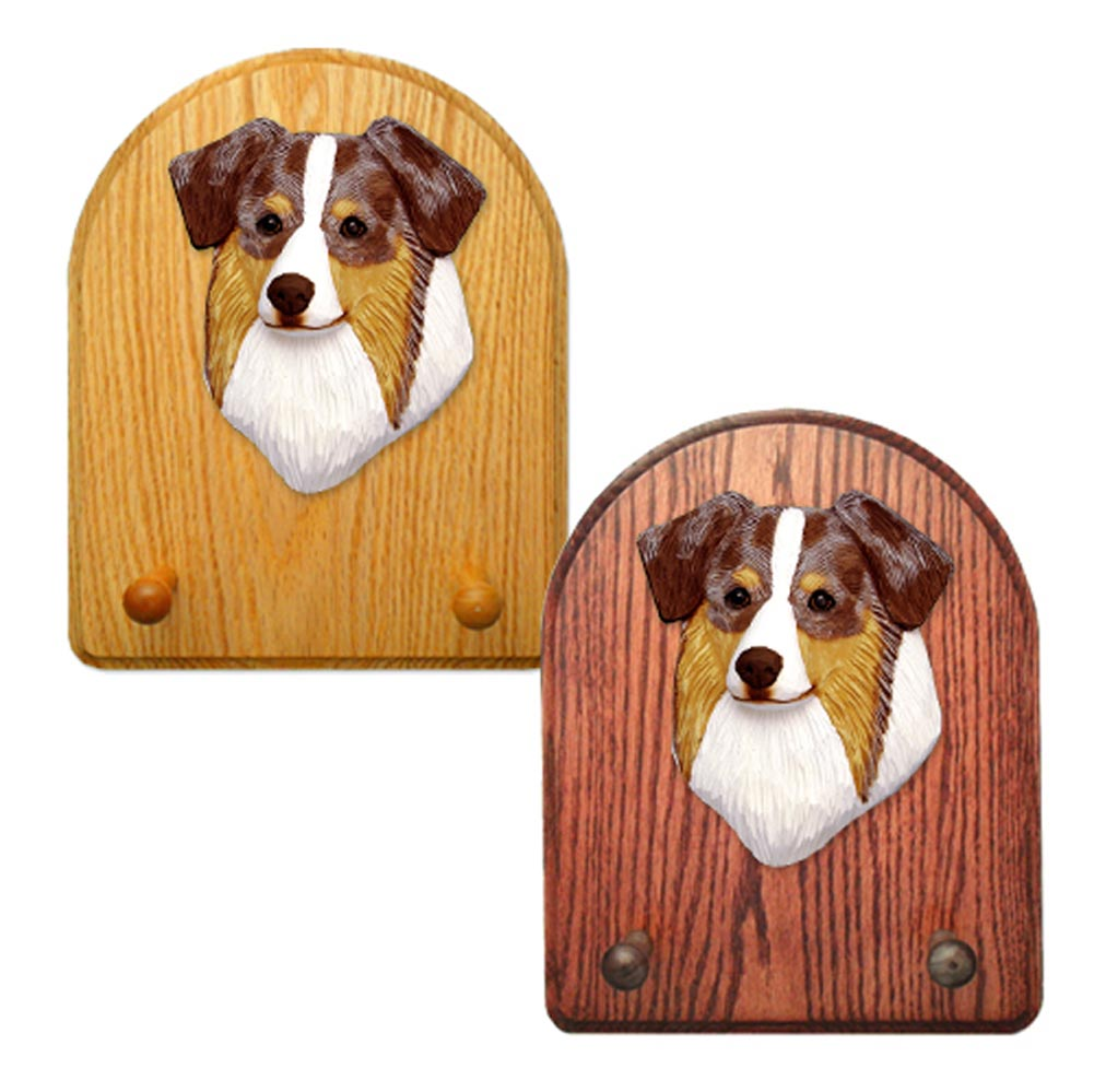 Australian Shepherd Dog Wooden Oak Key Leash Rack Hanger Red Merle