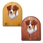 Australian Shepherd Dog Wooden Oak Key Leash Rack Hanger Red Tri