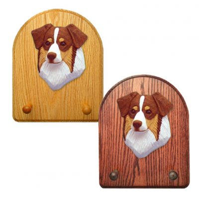 Australian Shepherd Dog Wooden Oak Key Leash Rack Hanger Red Tri 1