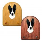 Basenji Dog Wooden Oak Key Leash Rack Hanger Black/White