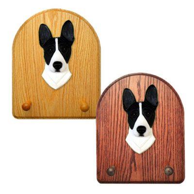 Basenji Dog Wooden Oak Key Leash Rack Hanger Black/White 1
