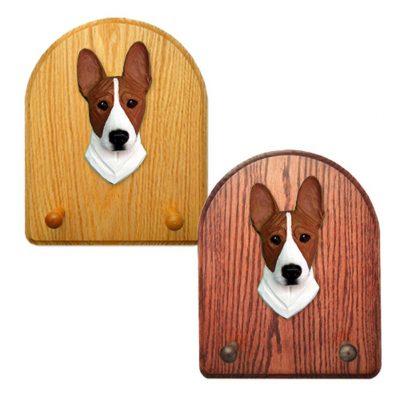 Basenji Dog Wooden Oak Key Leash Rack Hanger Red/White