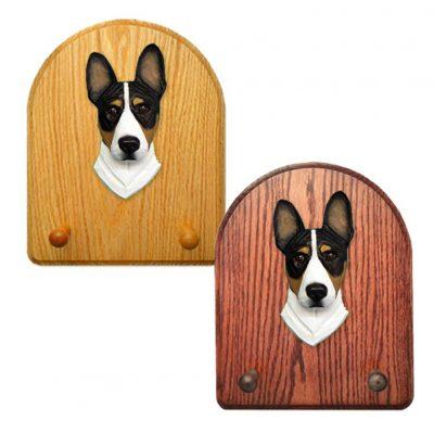 Basenji Dog Wooden Oak Key Leash Rack Hanger Tri 1