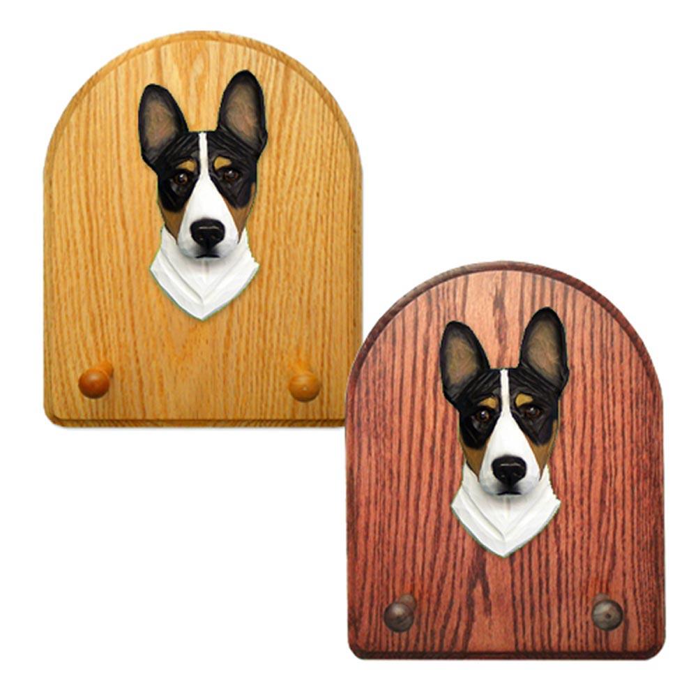 Basenji Dog Wooden Oak Key Leash Rack Hanger Tri