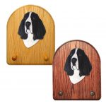 Basset Hound Dog Wooden Oak Key Leash Rack Hanger Black/White
