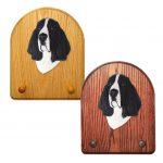 Basset Hound Dog Wooden Oak Key Leash Rack Hanger Black/White