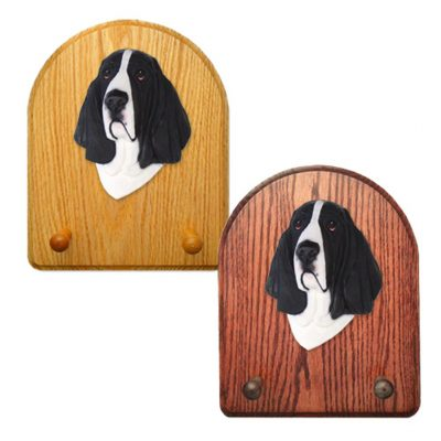 Basset Hound Dog Wooden Oak Key Leash Rack Hanger Black/White 1