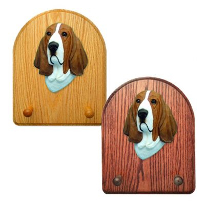 Basset Hound Dog Wooden Oak Key Leash Rack Hanger Red/White
