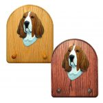 Basset Hound Dog Wooden Oak Key Leash Rack Hanger Red/White