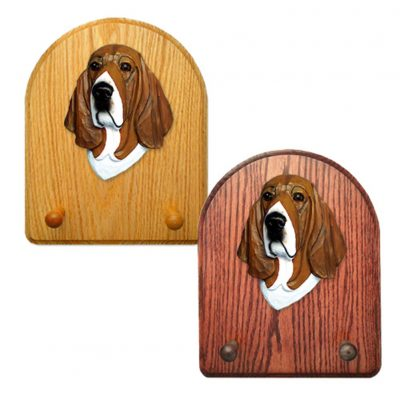 Basset Hound Dog Wooden Oak Key Leash Rack Hanger Tri 1