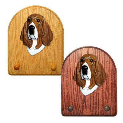 Basset Hound Dog Wooden Oak Key Leash Rack Hanger Tri 1
