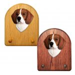 Beagle Dog Wooden Oak Key Leash Rack Hanger Tri 1