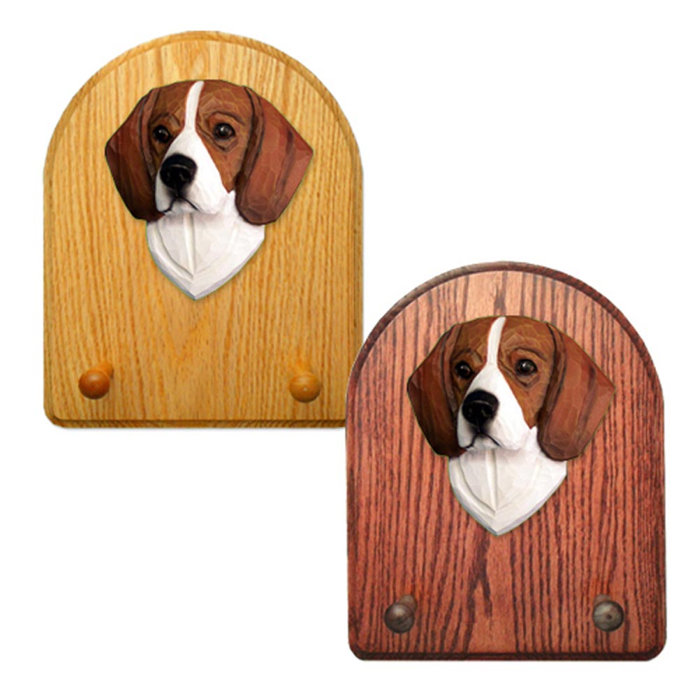 Beagle Dog Wooden Oak Key Leash Rack Hanger Tri