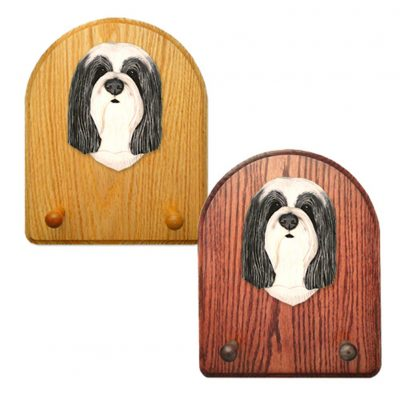 Bearded Collie Dog Wooden Oak Key Leash Rack Hanger Blue/White 1