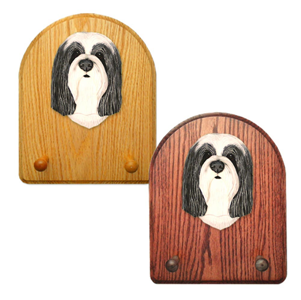 Bearded Collie Dog Wooden Oak Key Leash Rack Hanger Blue/White