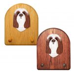 Bearded Collie Dog Wooden Oak Key Leash Rack Hanger Brown/White