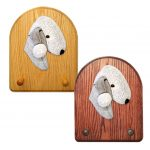 Bedlington Terrier Dog Wooden Oak Key Leash Rack Hanger Blue