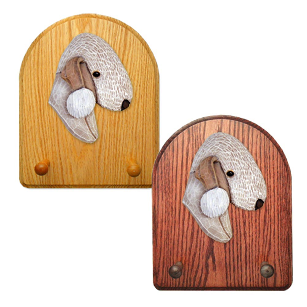 Bedlington Terrier Dog Wooden Oak Key Leash Rack Hanger Liver