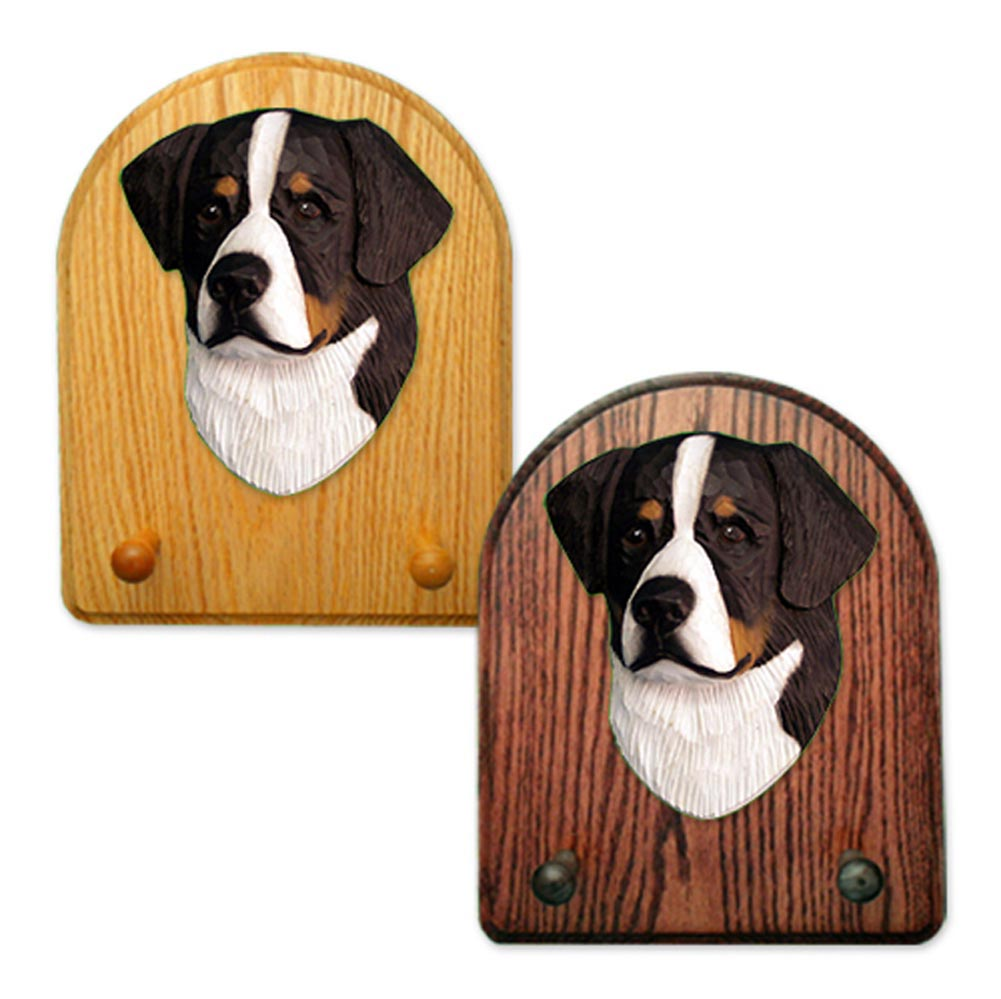 Bernese Mt. Dog Dog Wooden Oak Key Leash Rack Hanger