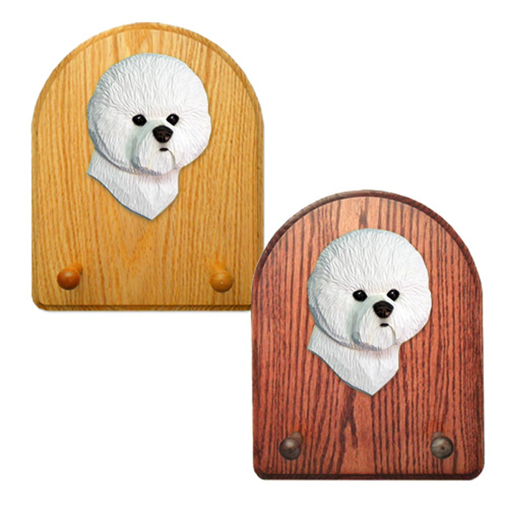 Bichon Frise Dog Wooden Oak Key Leash Rack Hanger